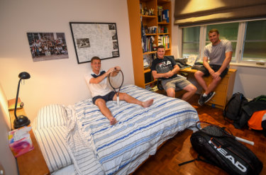 Better than a hotel: (from left) Neal Skupski and brother Ken with host Steve Lustig at the Lustigs' Caulfield North house.