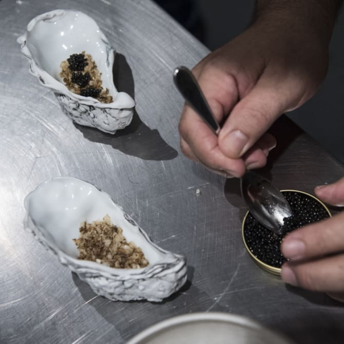 Peter Gilmore prepares a tasting menu for the new restaurant.
