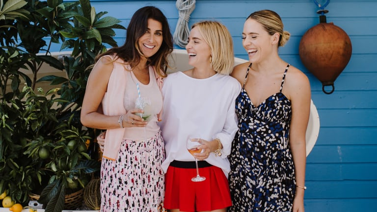 (L-R) Jodhi Meares, Nadia Fairfax and Deborah Symond at a lunch to celebrate the launch of The Upside x Nadia Fairfax collection at Vaucluse Yacht Club on Wednesday.