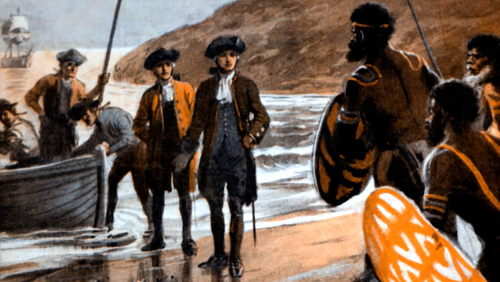 A detail from a painting depicting Captain Cook's first landing at Botany Bay, by George Soper. Photo: Alamy