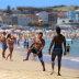 Beachgoers enjoy the hot weather at Bondi Beach on Australia Day. 26 January 2021. Photo Steven Saphore