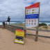 Warning signs at Cape Woolamai, which is among the most treacherous beaches in Victoria.