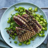 Neil Perry's tuna steaks with broad beans and tapenade