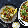 Karen Martini's spicy brown-butter rice with haloumi and pomegranate
