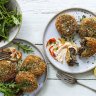 Neil Perry's mushroom risotto cakes with aioli