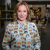 Jane Hutcheon in her Anna Thomas cat-print shirt.