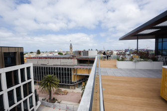 The terrace on the top floor of the FOMO building overlooks Kings Square and Fremantle Port.