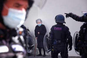 A woman caught up in protests outside Northcote Plaza on Friday.