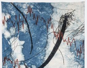 Judy Watson, detail of memory scar, grevillea, mangrove pod (& net), 2020, indigo, acrylic, graphite and linen thread on canvas.
