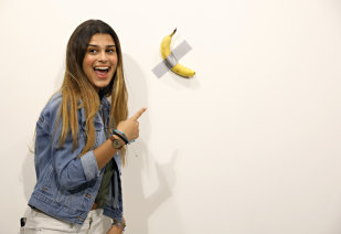 """Maurizio Cattelan's """"Comedian"""" was popular with visitors to Miami's Art Basel."""