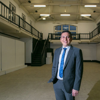 "Councillor Peter Matic in the ""once great and graceful"" building."
