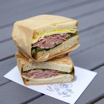 Chris Minns chose the corned beef, Maasdam cheese and salad sandwich.