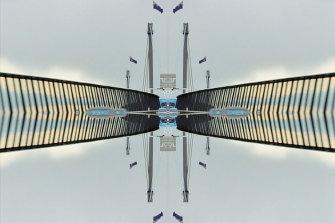 Bridge Rorschach 1: a still from a video installation for 'The Bridge' byBindiColeChocka.