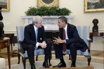"""After Barack Obama was elected in 2008, Kevin Rudd sent him a note saying, """"Dear Mr President. You poor bastard. Welcome to Messiah syndrome. Infinite expectations. Finite resources."""""""