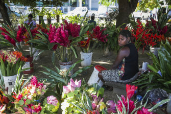 A flower seller at the Port Vila market.