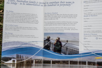 The brochure from when Susan McIntosh signed up for her parents' names to be included on Immigration Bridge.