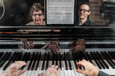 Use it or lose it: pianist Judy Hall, 96, practises for the Melbourne Recital Centre 10th anniversary concert with former pupil, pianist Timothy Young.