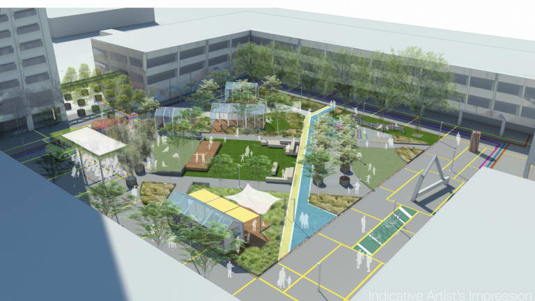An artists impression of the activation of Woden town square.