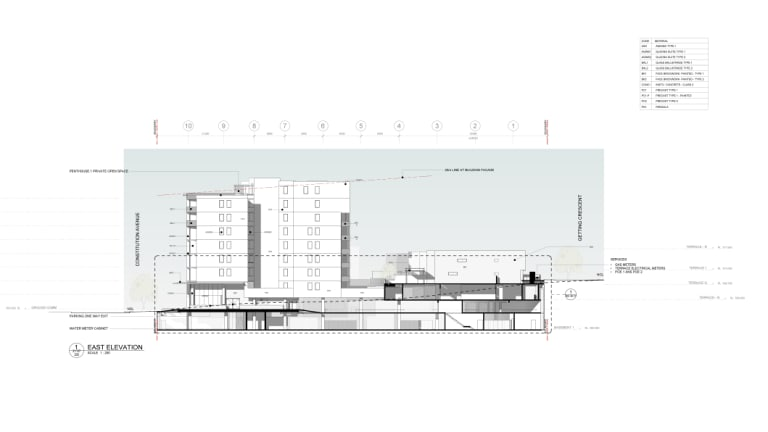An elevation of the proposed building.