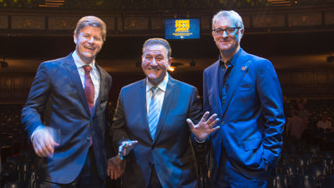 Comedy Theatre owner Jason Marriner, left, with Tourism Minister John Eren, centre, and producer Rodney Rigby.