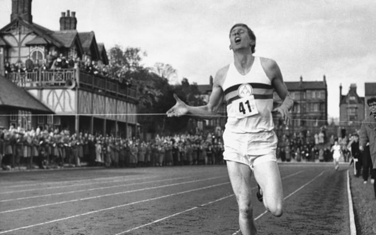 Roger Bannister breaks the four-minute barrier in the mile at Iffly Field in Oxford, England.