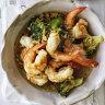 Adam Liaw's speedy garlic prawn and broccoli stir-fry