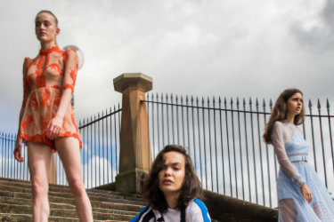 Models wearing exclusive looks from hero designers showing at MBFWA. This includes P.E. Nation (active wear), Alice McCall (orange playsuit) and We Are Kindred(purple dress) at Bennelong Lawn.
