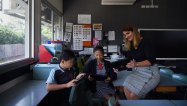 Waitara Public School principal Dany Coelho with students Beita Su and Bridget Choi.