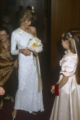 Princess Diana in 1983 in Melbourne, wearing one of the dresses that defined her signature silhouettes.