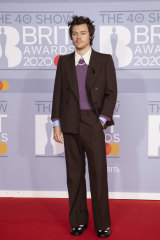 Stand to attention ... Harry Styles in a Mary Jane-style shoe at the Brit Awards.