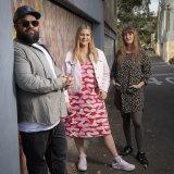Adam Briggs with illustrators Rachael Sarra and Kate Moon.