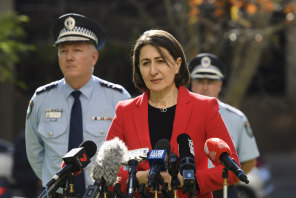 NSW Premier Gladys Berejiklian addresses the media on Friday afternoon.
