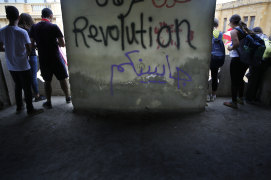 Anti-government protesters near the Opera building in Beirut on Sunday.