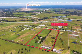 A 20-hectare parcel of amalgamated land at 244-270 Aldington Road in Kemps Creek.