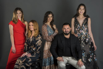Best in show ... Genevieve Smart of Ginger and Smart (second left) and Steven Khalil are two of the designers whose shows will be open to consumers at the 25th Mercedes-Benz Fashion Week Australia. The models wear (from left) Ginger and Smart, Tigerlily and Steven Khalil.