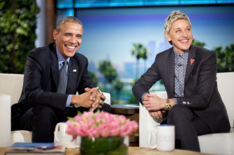 President Barack Obama talks with Ellen DeGeneres in 2016.