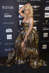Nicki Minaj arrives at the Harper's Bazaar party.