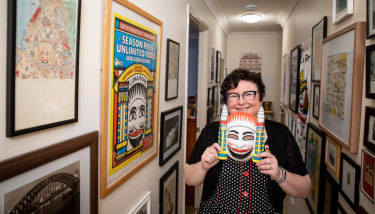 Nicole Brett with her hall of Luna Park treasures in her Brisbane home.