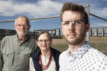 Wight resident Ryan Hemsley, pictured above right with John and Alison Hutchison, has praised the decision to reject two apartment complexes planned for Coombs.
