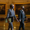 Clerk of the House Cheryl Johnson along with acting House Sergeant-at-Arms Tim Blodgett, lead the Democratic House impeachment managers as they walk through Statuary Hall in the Capitol, to deliver to the Senate the article of impeachment against former president Donald Trump.