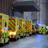 A row of ambulances outside the Royal London Hospital last week.
