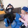 Candice Van Schellen and her daughters Mia, 10 and Mia, 8 preparing to go back to school.