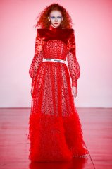 DI$COUNT UNIVERSE, 'The battle axe' red silk velvet shoulder dress, (Spring 2019 collection), National Gallery of Australia, Canberra, courtesy of the artists.