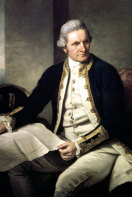 A painting of Captain James Cook in naval uniform from the National Maritime Museum in Greenwich, London.