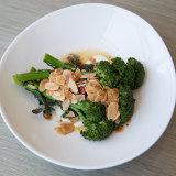 Charred broccolini, lemon yoghurt, toasted almonds.