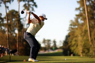 Hideki Matsuyama of Japan plays his shot from the 18th tee.