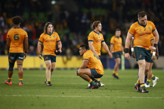 Hooper's side dejected after the last-gasp Test loss in Melbourne.