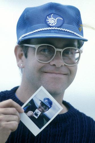 Elton John photographed at AIR Studios Montserrat where he recorded three albums.