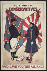 Britain saw its 1902 alliance with Japan, highlighted in this 1906 election poster, as shoring up its position in the Pacific. Australia's leaders viewed it with alarm.