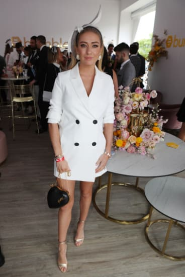 Bumble founder Whitney Wolfe Herd in the Bumble marquee on Derby Day.